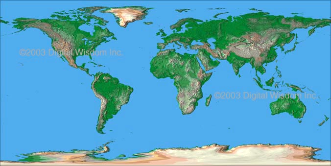Flat World Map Vector.World Maps Relief Maps And Vector Maps
